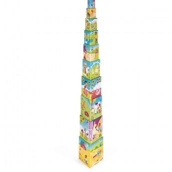 Janod Piramida wieża 10 trójkątnych kostek Farma +12m | Dadum Kraków