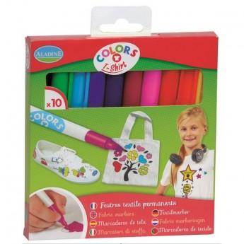 Aladine 10 markerów do tkanin dla dzieci +5 lat