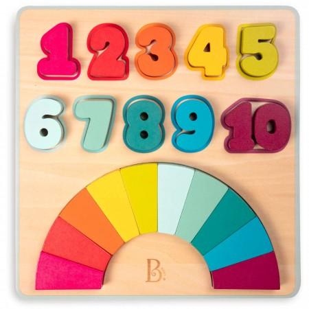 B.Toys Tęczowe Cyferki drewniana układanka edukacyjna +18mc