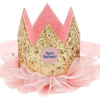 Korona urodzinowa złota i różowa z brokatem, Souza!