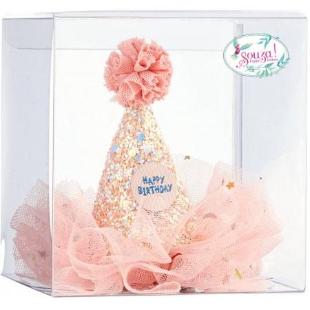 Kapelusz urodzinowy różowy z brokatem i tiulem, Souza!