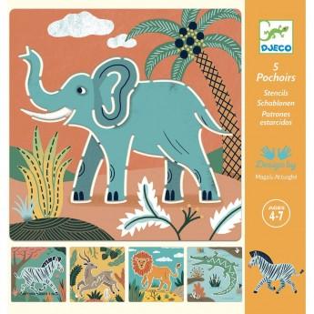 Djeco Szablony do rysowania Dzikie Zwierzęta dla dzieci +4