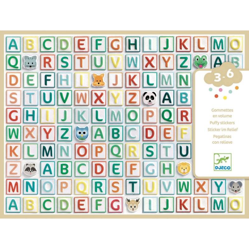 Djeco Zestaw 122 miękkich wypukłych naklejek Alfabet +3 | Dadum Kraków