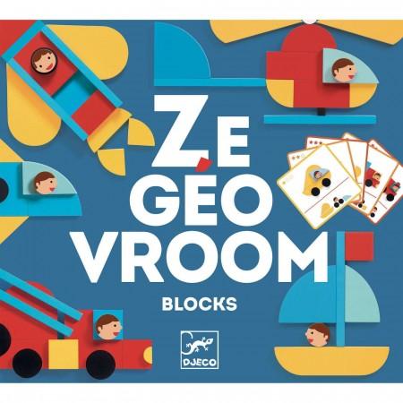 Djeco Ze Geo Vroom układanka kształty z pojazdami +3 | Dadum Kraków