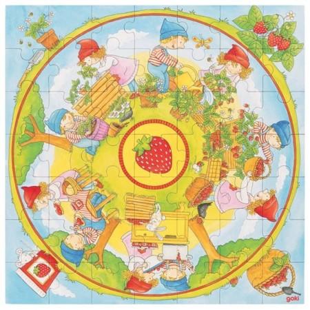 Goki Duże puzzle 49 elementów Uprawa Truskawek +4