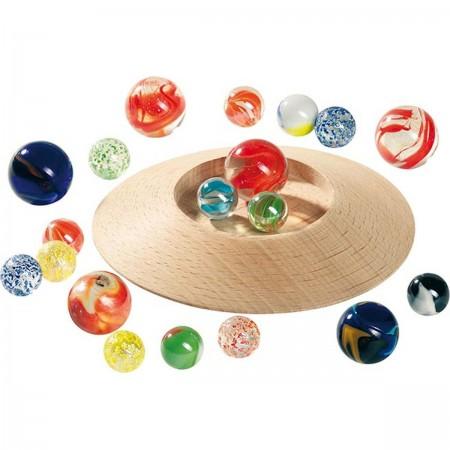 Goki Szklane kulki do gry 31 sztuk z drewnianym talerzem