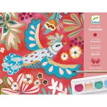 Djeco Zestaw artystyczny z farbami kolorowe ptaki