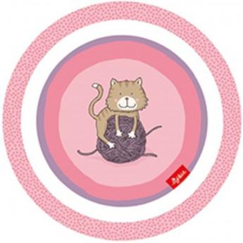 Sigikid Talerz dla dziecka różowe Kotki z melaminy