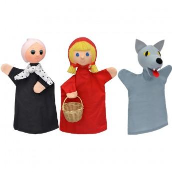 3 pacynki na rękę Czerwony Kapturek, Babcia i Wilk | Dadumny Kapturek 3 pacynki 30 cm +3