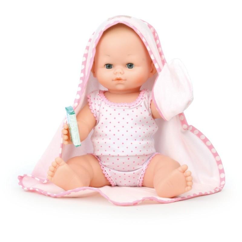 Lalka Bobas 36 cm z ręcznikiem, Petitcollin