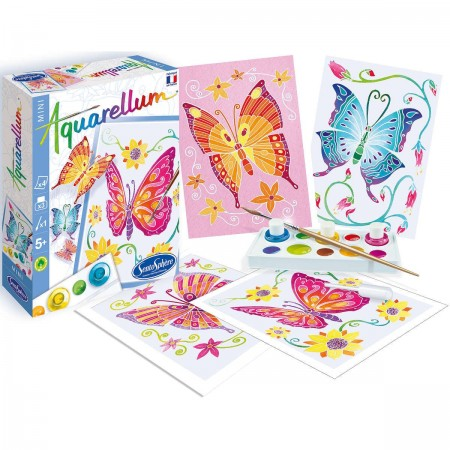 Motylki 2 obrazy do malowania i farby Aquarellum Mini, SentoSphere