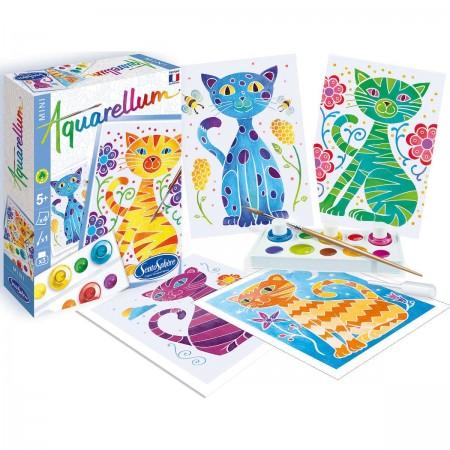 Koty 2 obrazy do malowania i farby Aquarellum Mini, SentoSphere