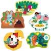 5 drewnianych puzzli ewolucyjnych Ogród od 3 do 9 elementów, Vilac