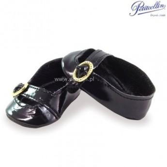 Buty dla lalek 35-40cm balerinki czarne z paskiem, Petitcollin