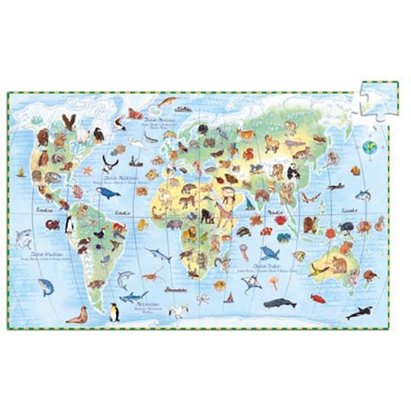 Zwierzęta Świata puzzle 100 elementów, Djeco