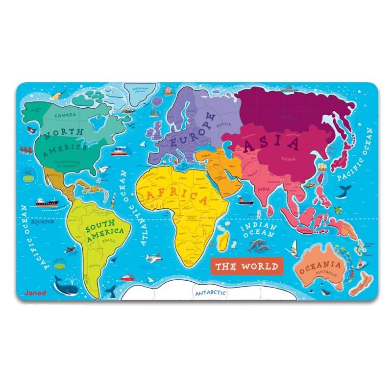 Mapa świata puzzle magnetyczne drewniane 92 elementów 7+, Janod