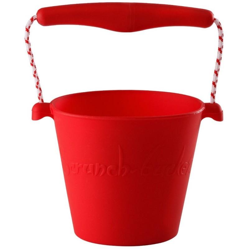 Wiaderko do piasku dla dzieci silikonowe czerwone Scrunch-Bucket