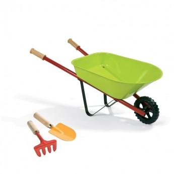 Taczka metalowa zielona z narzędziami, Janod