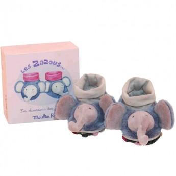 Buciki niechodki dla niemowląt Słoniki, Moulin Roty