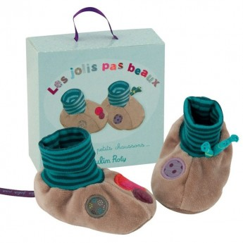 Buciki dziecięce szare w pudełku, Moulin Roty