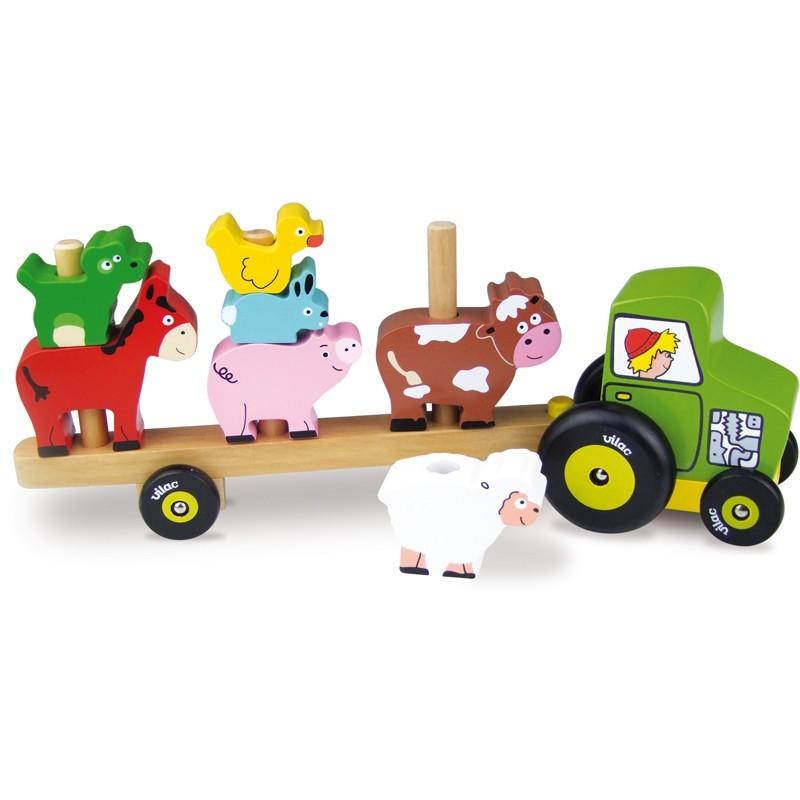 Vilac Nakładanka Farma ciągnik z naczepą zabawka drewniana +2 | Dadum