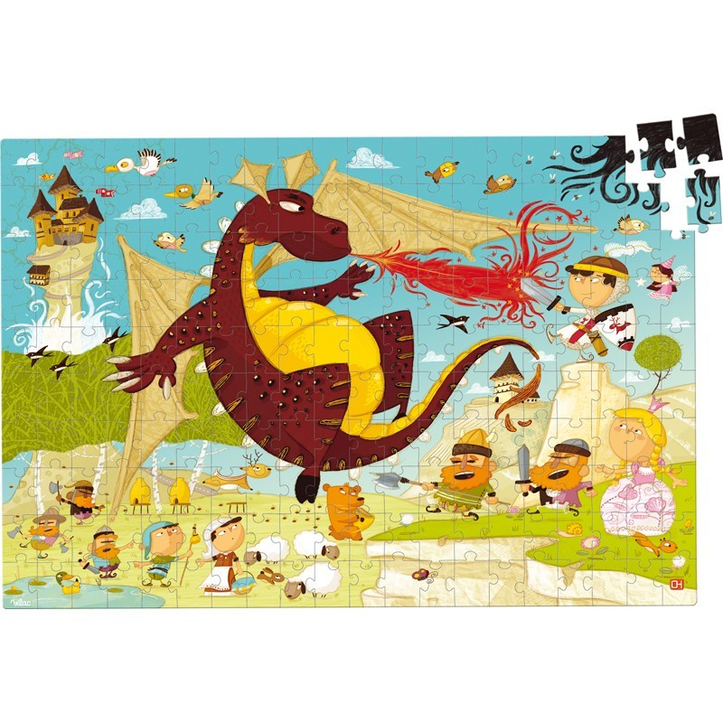 Rycerze puzzle 200 elementów drewniane, Vilac