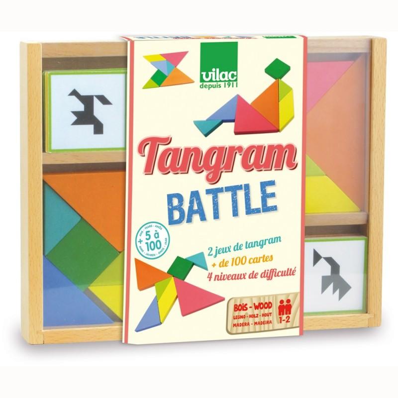 Tangram podwójny drewniany gra dla dzieci od 5 lat, Vilac