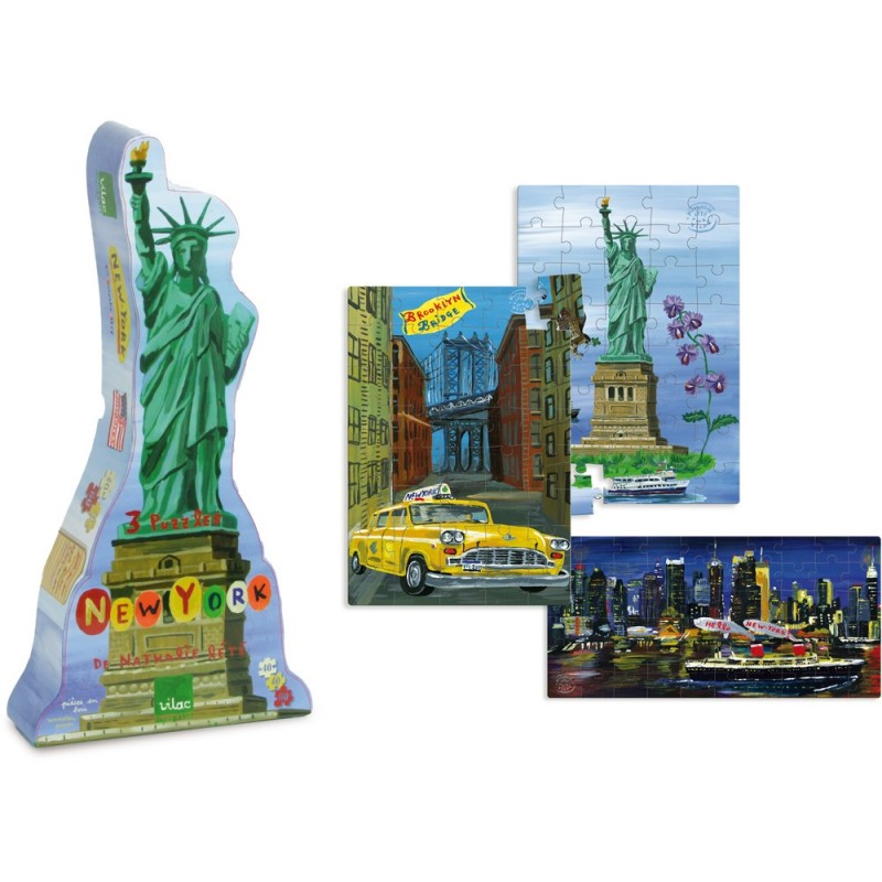Nowy Jork 3 puzzle 40- 60- elementów by Nathalie Lété drewniane, Vilac