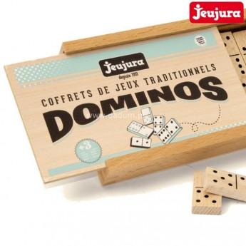 Domino drewniane tradycyjne dla dzieci i dorosłych, Jeujura