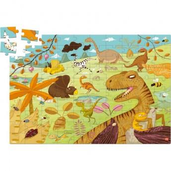 Dinozaury puzzle 100 elementów drewniane, Vilac