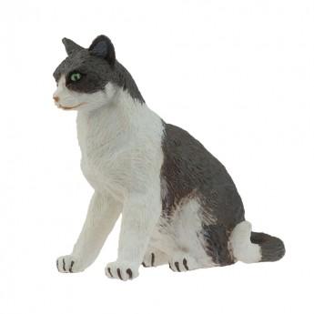 Kot szaro-biały siedzący figurka, Papo