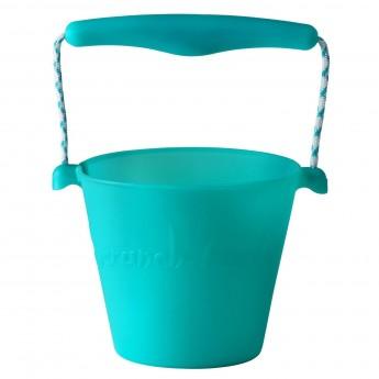 Wiaderko do piasku dla dzieci silikonowe turkusowe Scrunch-Bucket