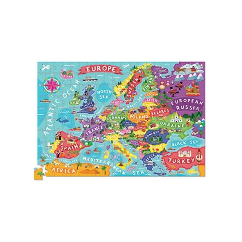 Europa puzzle 200 elementów z plakatem, Crocodile Creek