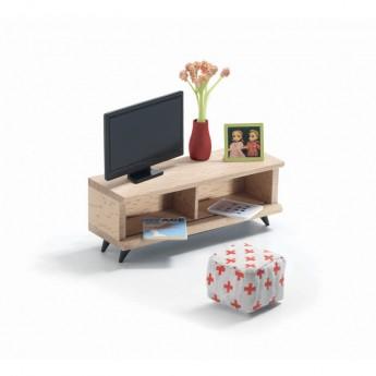 Salon z telewizorem meble do domku dla lalek, Djeco
