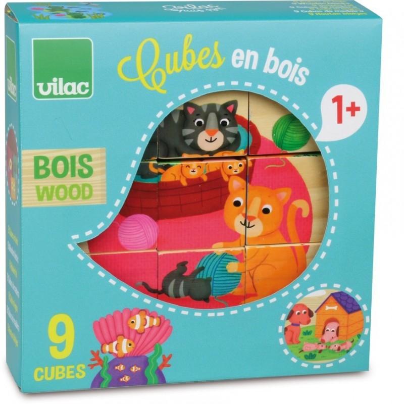 Zwierzęta układanka 9 klocków drewnianych 2+, Vilac