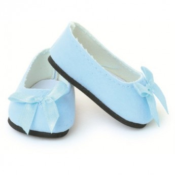 Buty dla lalek 39-48cm balerinki błękitne ze wstążką, Petitcollin