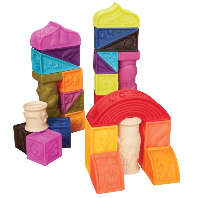Klocki miękkie Elemenosqueeze, B.Toys