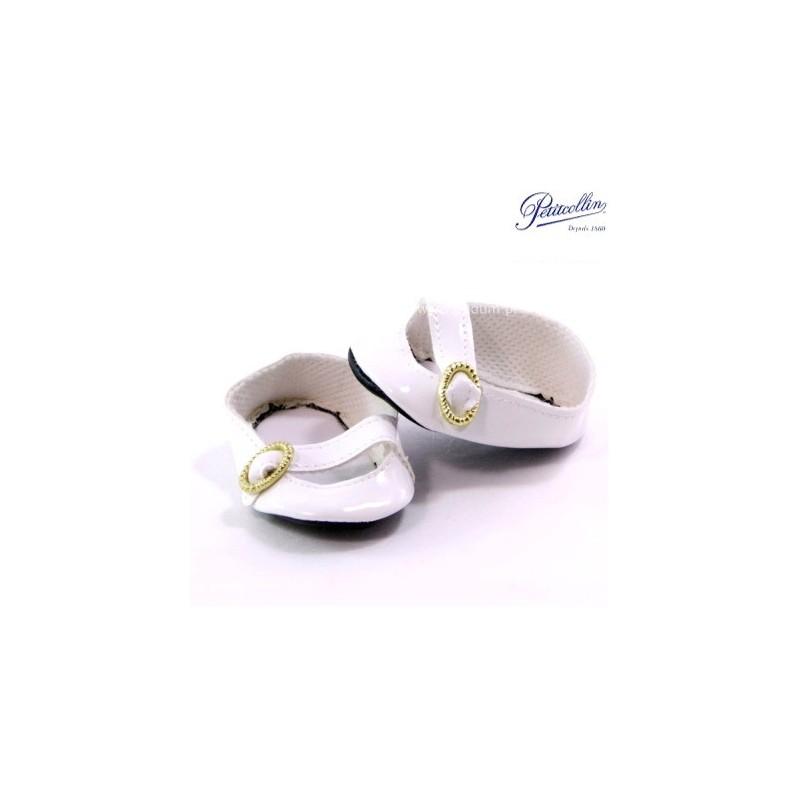 Buty dla lalek 35-40cm balerinki białe z paskiem, Petitcollin