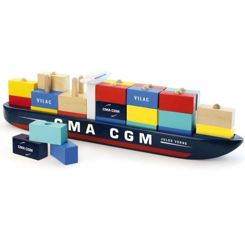 Nakładanka kontenerowiec CMA CGM 34 klocków, Vilac