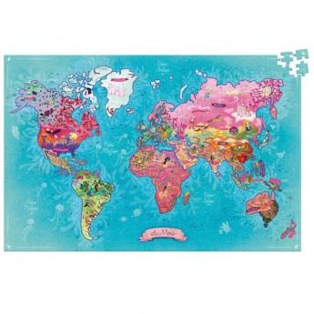 Mapa Świata Poetyczna puzzle 500 elementów, Vilac