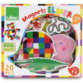 Magnesy drewniane Elmer 20 sztuk, Vilac