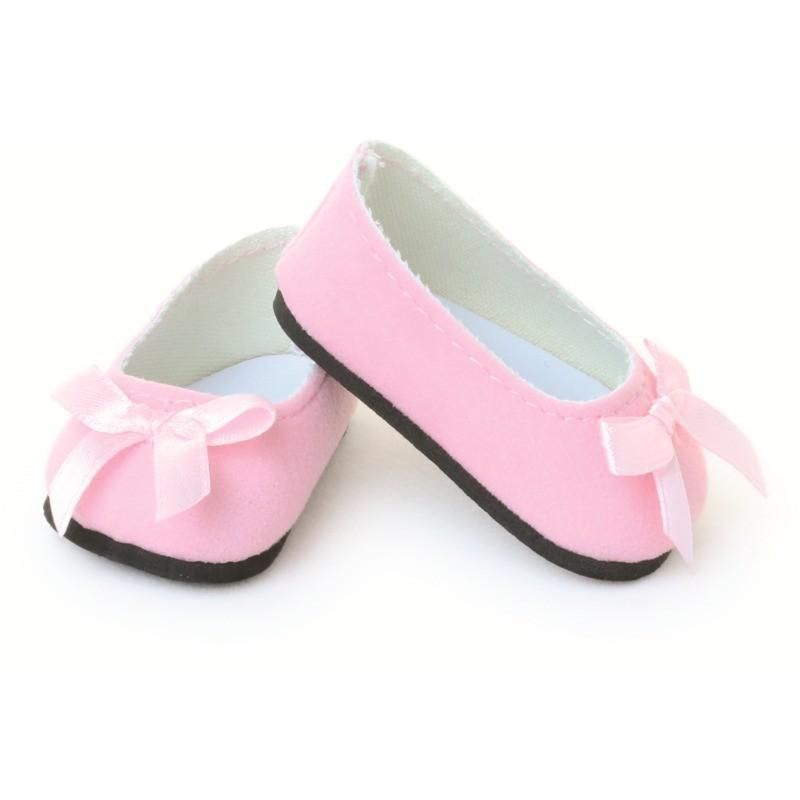 Buty dla lalek 39-48cm balerinki różowe ze wstążką, Petitcollin