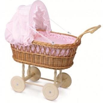 Wózek wiklinowy dla lalek 60cm z pościelą w kwiatki, Petitcollin