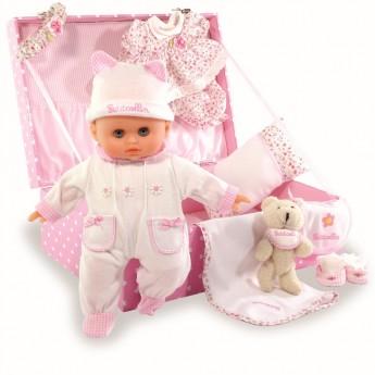 Lalka bobas dla dzieci 28cm z różową walizką i akcesoriami, Petitcollin