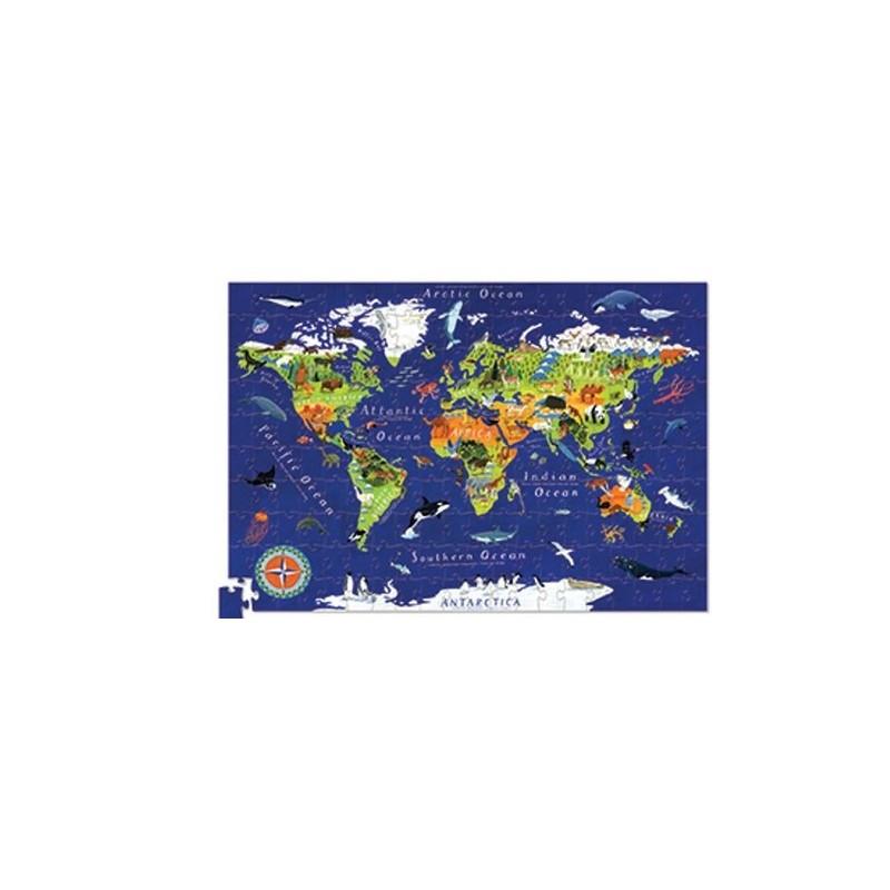 Puzzle Świat 200 elementów z plakatem, Crocodile Creek