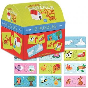Zwierzęta i ich domy puzzle 2 elementy, Crocodile Creek