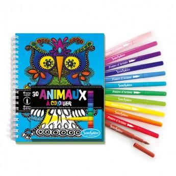 Komplet 30 kolorowanek i 12 pisaków-pędzelków Zwierzęta, SentoSphere