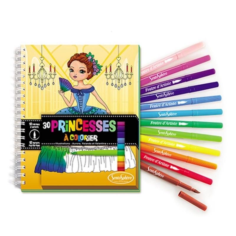 Komplet 30 kolorowanek i 12 pisaków-pędzelków Księżniczki, SentoSphere