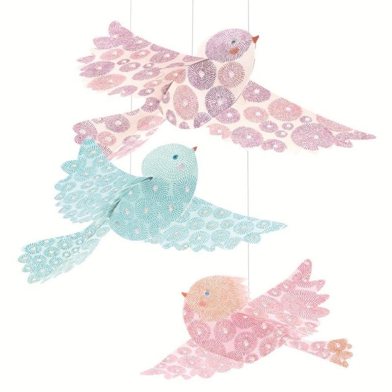 Djeco Brokatowe ptaszki do złożenia i zawieszenia