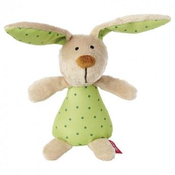 Grzechotka Zajączek zielony w kropki dla niemowląt, Sigikid